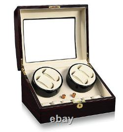 Double Automatic Rotation 4+6 Watch Winder Case Wood Display Box Japan Motor