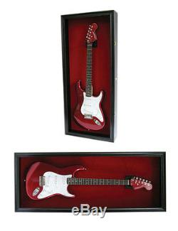 Electric Bass Guitar Display Case Wall Frame Cabinet Wood Box, GTAR2(RED)-BLA