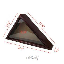 Flag Display Case 5x9.5 Burial Funeral Veteran Flag Holder Box Frame Deep Cherry