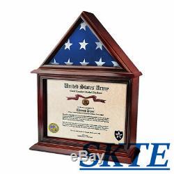 Flag Display Case Military Shadow Box Gift 3' X 5' US Flag Hardwood(Black Felt)