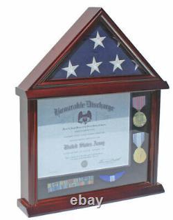 Flag Display Case Military Shadow box for a 3'X5' a Home/Flown Flag