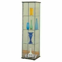 Glass Curio Tower Cabinet Rack Display Show Case Storage Shelves Floor Stand Box
