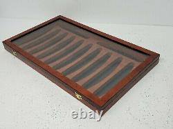 HIGH END Thiers Issard Deluxe Elm Burl 12 Straight Razor Display Box glass case