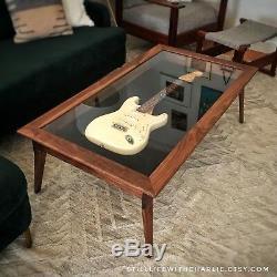 Handmade Walnut Modern-Style Shadow Box Guitar Display Case Coffee Table