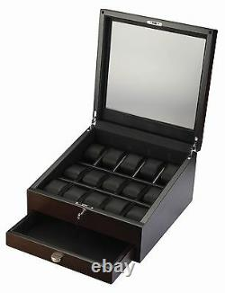 High Quality 15 Watch Rustic Brown Display Case / Storage Box with See Through Top
