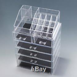 Jewelry Makeup Acrylic Cosmetic Organizer Case Display Holder Drawer Box Storage
