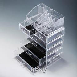 Jewelry Makeup Acrylic Cosmetic Organizer Case Display Holder Drawer Box Storage