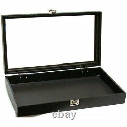 Jewelry Showcase Display Case Glass Top Portable Travel Box Black New