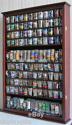 LARGE, 144 Shot Glass Display Case Wall Holder Cabinet Shadow Box