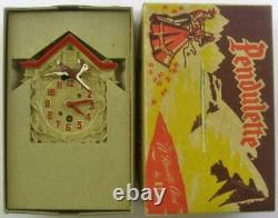 LUX 302A Pendulette RUDOLPH REINDEER white case WALL CLOCK MIB display box 22pix
