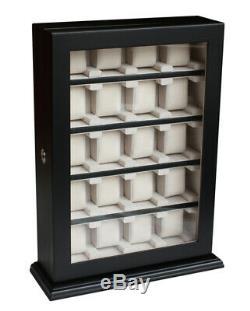 Large 5 10 15 20 Wrist Watch Storage Cabinet Chest Box Display Wooden Case Black