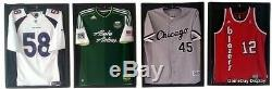 Lot of 4 Sports Jersey Display Cases and Hangers Frame Shadow Box Football B