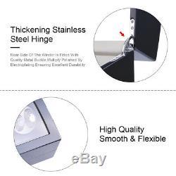 Luxury Automatic Quad 4 Motor Watch Winder Display Box Case Black 8+9 US