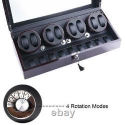 Luxury Ebony Automatic 4 Motors Watch Winder Display Watch Box Case 8+9