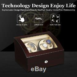 Luxury Leather Watch Winder Storage Auto Display Case Box 4+6 Automatic Rotation