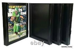 Magazine Sports Illustrated Display Frame Case Black Shadow Box Lot Of 4
