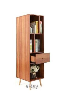 Mid Century Bookshelf Tower Bookcase Box with Drawer Display Home Furniture Brown