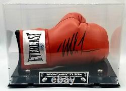 Mike Tyson Signed Autographed Boxing Glove With Custom Silver Display Case + COA