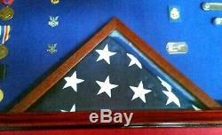 Military Award Shadow Box Display Case Nautical Navy Art, Framed Flag & Medals