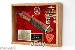 Military Knife Wood Shadow Box Display Case For Medals Badges Ribbons