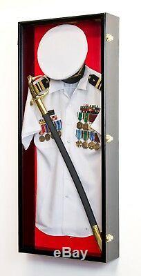 Military Shadow Box Uniform Sword Gun Pin Navy Hat Display Case Lockable