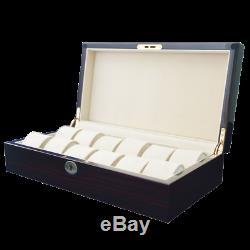 NEW Ebony Wood Finish Watch Box Storage Chest Display Case