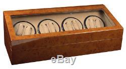 New Double Quad 8+12 Automatic Watch Winder Walnut Wood Storage Display Case Box
