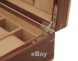 New Walnut 10 Wrist Watch Jewellery Display Storage Wooden Case Box