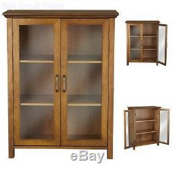 Oak Floor Cabinet Case Display Storage Shelf Box 2 Glass Doors Elegant New