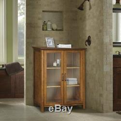 Oak Floor Cabinet Curio Case Display Storage Shelf Box 2 Glass Doors