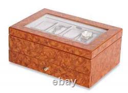 Oak Watch Box Display Case, 10 Section Wood Storage Holder Organizer, Glass Top
