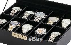 Orbita Roma 10 Watch Case Glass Top Display Storage Box Black Leather W93011