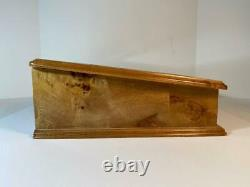 Powell Burl Wood and Bevelled Glass Lid Display Case Box with Key