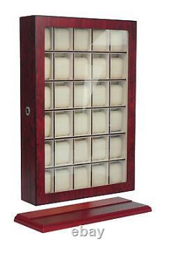 Presale- 30 Watch Cherry Wood Display Wall Case Stand Storage Organizer Box Hang