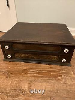 Rare Antique 1800s 2 Drawer Wood Thread Box Desk Organizer Cabinet Milk glass