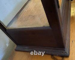 Rare Antique Glass & Wood Display Case Box With Drawer