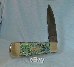 Rare Bulldog Genuine Abalone Damascus Display Knife Near Mint! With Case /box