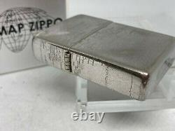Rare! ZIPPO 2002 Limited Edition World Map Lighter w Display Case and Box