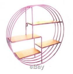Round Metal Pink & Gold Wall Shelf Display Storage Organizer Kitchen, Bath Rack