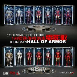 Toys Box 1/6 Iron Man Hall of Armor LED Dust Box 12'' Figure Doll Display Case