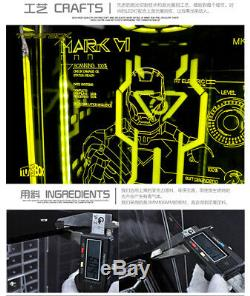 Toys Box 1/6 Iron Man MK6 Mark6 Display Case Dust Proof LED Light Collection