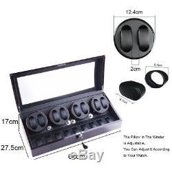 US Luxury Ebony Automatic 4 Motors Watch Winder Display Watch Box Case 8+9 Gift