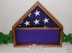 Us American Oak 3 X 5 Flag Display Case Memorabilia Box D