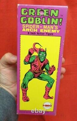VINTAGE MEGO 1970's WGSH GREEN GOBLIN WITH ORIGINAL BOX + DISPLAY CASE