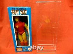 VINTAGE MEGO 1970's WGSH IRON MAN WITH ORIGINAL BOX + DISPLAY CASE