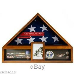 Veteran Flag Display Case Oak American Military Display Box Funeral Burial Flag