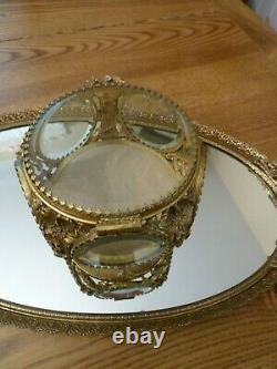 Vintage 5 panel Glass Beveled Window Ormolu Casket Jewelry Box Display Case
