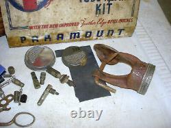 Vintage 50s Paramount Tire Repair Metal Cabinet 10.5 W Store Display Case Box