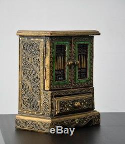 Vintage Jewelry Apothecary Store Display Teak Case Cabinet Trinket Ring Box Old