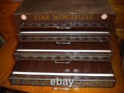 Vintage Metal AMERICAN THREAD COMPANY STAR SPOOL CABINET / 4 DRAWER SPOOL BOX
